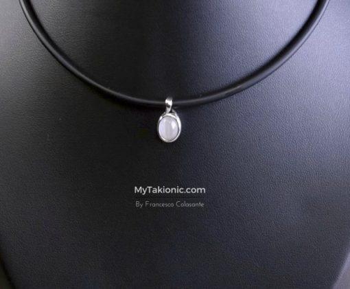 doppia perla originale takionic in castone d'argento 925